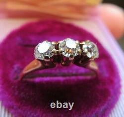 14k Antique Vintage Art Deco 3 Old Mine Cut Vs Natural Diamond Bague De Fiançailles