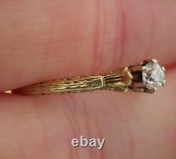 14k Antique Vintage Vs Old Mine Cut Natural Diamond Bague De Fiançailles Art Déco Wow