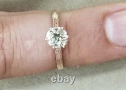 14k Rose Gold Vintage Diamond Fiançailles Round Old Mine Cut 0,72ct Si2-k