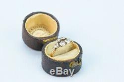 1790 Ring 6 Old Diamonds Cut Or Argent Set Antique Anglais Géorgien Vintage