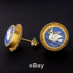 1800 Antique Micro Mosaic 18k Gold Dormeuses Bird Dove Italien Vintage Vieux