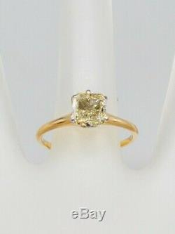 1890. Victorienne Antique 1ct Naturel Vs K Vieux Cut Diamant 14k Bague En Or Platine