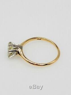 1890. Victorienne Antique 1ct Naturel Vs K Vieux Cut Diamant 14k Bague En Or Platine