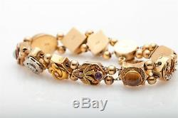 1890. Victorienne Antique 1ct Old Euro Vs G Diamant Or 14k Slide Charm Bracelet