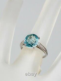 1920 Antique 3400 $ 5ct Ancienne Mine Cut Naturel Blue Zircon Platinum Wedding Ring