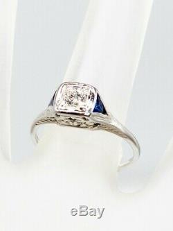 1920 Antique. 75ct Old Euro Diamant Bleu Saphir Or Blanc 18 Carats Bague Filigrane