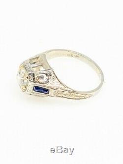 1920 Antique Belais 1ct K Old Cut Vs2 Diamant Saphir 18 Carats D'or Mens Bague