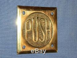 1930 Rare Art Ancien Original Deco Période Brass''push '' De Antique Vintage Signe Porte