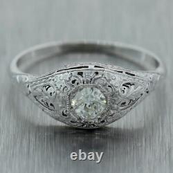 1930's Antique Art Deco Platinum 0.33ctw Ancienne Mine Coupée Diamond Filigree Anneau