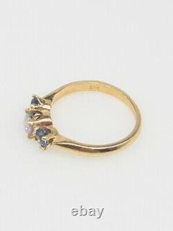 1940 Antique 1.65ct Ancienne Mine À Diamant Bleu Saphir 14k Bague En Or Jaune
