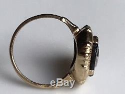 19 Antique C 10k Goldold Mine De Diamants Chipfiligreeonyx Deuil Anneau 5,25