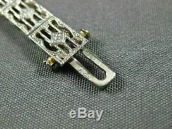 1.12ct Antique Old Diamond Mine Et Aaa Ruby White Gold Bracelet Ouvert Filigrane