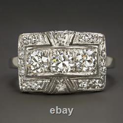 1.17c Vintage F-g Vvs-vs Diamond Cocktail Ring Platinum Old Cut Art Deco Antique