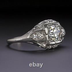 1.24ct Vintage Bague De Fiançailles Diamant Platinum Vieux Cut Antique Estate Europe