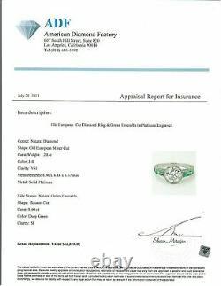1.28 Ct Vintage Ancienne Anneau De Fiançailles De Diamants Coupés D'europe Dans Platinum