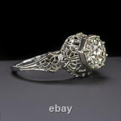 1.38ct Old Europeen Cut Diamond 18k Engagement Ring Art Deco Vintage Antique 1.5