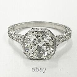 1.40 Ct Vintage Ancienne Anneau De Fiançailles De Diamants Coupés D'europe Dans Platinum