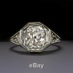 1.40ct Antique Vieux Mine Cut Diamond Bague De Fiançailles 18k Vintage Estate Solitaire