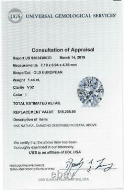 1.44c Certifié I Vs2 Old European Cut Diamond Vintage Antique Natural 1.5 Carat