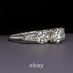 1.44ctw H-i Vs Old European Cut Diamond Bague De Fiançailles Vintage Antique 3 Pierre