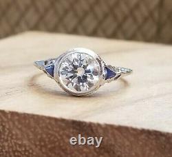 1.45ct Vintage Filigree Art Deco Bague Vieux Euro Coupé Diamant Or Blanc 18k