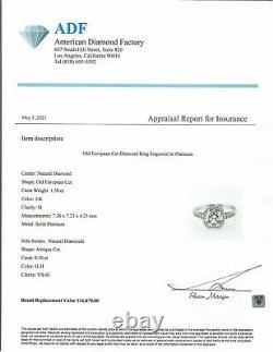 1.50 Ct Vintage Ancienne Anneau De Fiançailles Diamant Coupe D'europe Dans Platinum