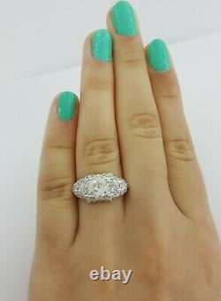 1.55 Ct Antique Art Déco Platinum Old European Cut Diamond Engagement Ring Gia