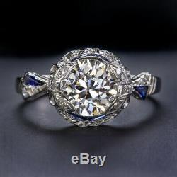 1.5c Ancienne Bague Européenne De Coupe De Diamants De Coupe Palladium Sapphire Antique