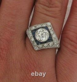 1.67 Centre De Coupe De La Vieille Mine Art Déco Saphirs Diamant Diamants Anneau Platinum