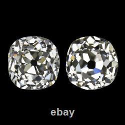 1.79c Old Mine Cut Diamond Stud Boucles D'oreilles I-j Vs1-si2 Antique Paire Vintage 1.75ct