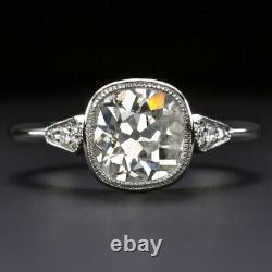 1.84c Vieille Mine Taille Bague De Fiançailles Diamant Platine Antique Vintage Lunette 1.75ct
