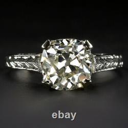 1.85ct Vs Vieux Mine Cut Diamond Bague De Fiançailles 18k Anciennes Solitaire 2ct