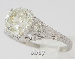 1.88 Ct Vintage Deco Platinum Old European Cut Diamond Fiançailles Anneau Rtl $21k