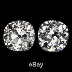 1.90ct Vieux Mine Cut Diamond Dormeuses Vintage 2 Carat Pair Antique Natural