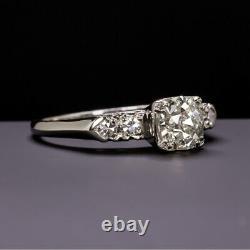 1 Carat Old European Cut Diamond Platinum Bague De Fiançailles Vintage Antique 1ct Eu