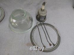 1 Lampe À Suspension Vintage Industrielle 12 Holophane Ancienne Usine Steampunk 573-16