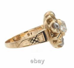 2.00ct Old Mine Cut Certified Diamond Antique Yellow Gold Bague De Fiançailles
