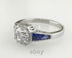 2.10 Ct Vintage Ancienne Anneau De Fiançailles De Diamants Coupés D'europe Dans Platinum