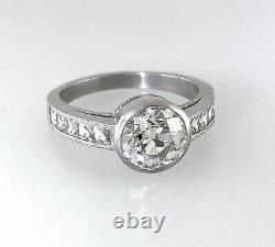 2,15 Ct Antique Vintage Ancien Engagement De Coupe De Diamant Européenne Bague En Platine