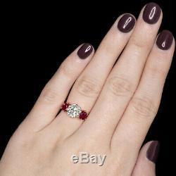 2.15ct Vintage Diamond 2ct Vs1 Rubis 18k Bague De Fiançailles Vieux Cut Antique Européenne