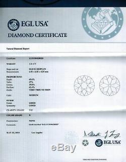 2.21ct I Vs2 Certifiee Vieille Couverture Europeenne Boucles De Diamant Anciennes Boucles D'oreilles