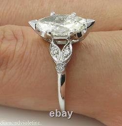 2.25ct Antique Vintage Deco Old Marquise Diamond Bague De Fiançailles Plt Egl