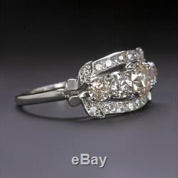 2.25ct Vieux Européen Coupe Diamant Platine Designer Ring 20s Band Cocktail Vintage