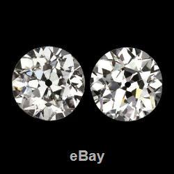 2.38c Boucles D'oreilles Classées En Diamant Vintage Ancienne Europeen Coupe Antique 2.5 Carat