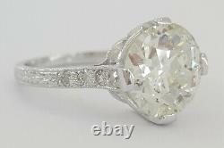 2.85 Ct Antique Art Déco Platinum Old European Cut Diamond Bague De Fiançailles Gia