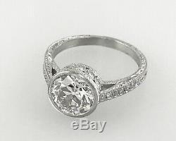 2,85 Ct Antique Vintage Ancien Engagement De Coupe De Diamant Européenne Bague En Platine