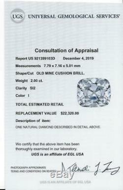 2 Carat Certifié Old Cut Diamond Mine I Si2 Antique Coussin Vintage Brillant