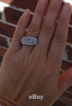 2ct Cru Européen Vieux Coupé Bague En Diamant Antique Partie Supérieure De Platine Tige 14k