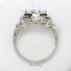 3tc Vieux Vs1 Européen Cut Diamond Bague De Fiançailles 18k Art Deco Anciennes