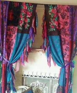 4pc(2pair) Indian Old Sari Patchwork Drape Fenêtre Décor Multi Silk Saree Rideau